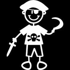 Verkleden als piraat is vaak favoriet bij kleine jongens. Met een zwaard in de hand, een ooglapje op en natuurlijk je piratenpet op. Heb jij ook zo'n knul in huis dan is deze sticker echt wat voor jou om op de auto te plakken. Breidt m uit met de rest van je gezin en je auto is helemaal hip!