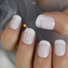 Short French Tip White Tips Beige Nude Round Faux Ongles Silver Line Designed Smile Line French Nails,press on nail, ombre nail, stiletto by UStiaracrown on Etsy French Acrylic Nails, French Manicure Nails, French Pedicure, French Tip Nails, Acrylic Nail Designs, Manicure And Pedicure, Summer French Manicure, Short French Nails, Glitter French Tips