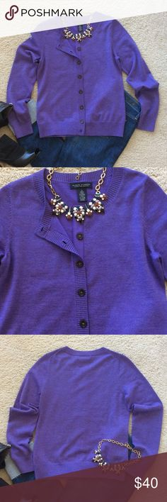 "Banana Republic Merino Wool Cardigan Banana Republic Extra Fine Merino Wool Cardigan. Gorgeous purple color. Super soft. Long sleeve. Button front. Laying flat approx 23"" shoulder to hem, approx 17"" pit to pit. 79 Merino extra fine wool 18 nylon 3 Lycra spandex. Size S. Excellent condition. Banana Republic Sweaters Cardigans"