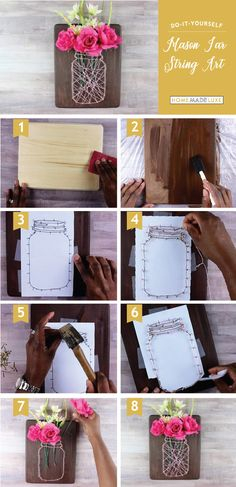 This Mason Jar String Art project is a simple yet gorgeous custom art piece. This Mason Jar String Art project is a simple yet gorgeous custom art piece. Its a beautiful way to Crafts For Teens, Crafts To Sell, Diy And Crafts, Kids Crafts, Mason Jars, Mason Jar Crafts, String Art Tutorials, Diy Y Manualidades, Mason Jar Lighting