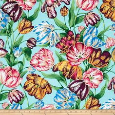 Philip Jacobs Spring 2017 Tulip Extravaganza Multi from @fabricdotcom  Designed by Philip Jacobs for Free Spirit, this cotton print fabric features vibrant hues and beautiful leaves and flowers for a spring vibe. Perfect for quilting, apparel and home decor accents. Colors include blue, dark blue, sky blue, green, dark green, black, taupe, white, wine, purple, red, shades of pink, mustard and pale yellow.