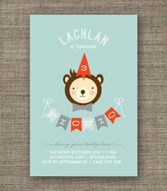 Boys Teddy Bears Picnic Invitation - 1st 2nd 3rd 4th 5th birthday party, kids party invites - pdf printable. $16.00, via Etsy.