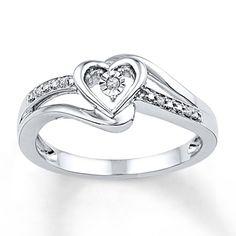 Diamond Heart Promise Ring Sterling Silver