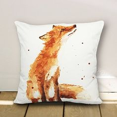 Fox accent Pattern Throw Pillow Covers Decorative Cushion Covers Canvas Pillowcase 18 x 18