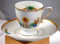 Favolina Porcelain Tea Cup Saucer With Saint And Chalice Made In Poland