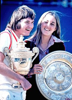 """The """"lovebirds"""", Evert and Connors, winning Wimbledon the same year, 1974"""