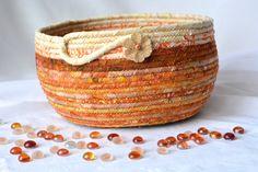 Decorative Tan Basket Beautiful Batik Fiber by WexfordTreasures