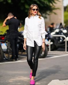 """Olivia Palermo """"Wearing my shirt in Milan last week, and thinking of today.   Karl's team has unveiled a collection of…"""" Style Olivia Palermo, Olivia Palermo Outfit, Olivia Palermo Lookbook, London Fashion Weeks, Paris Fashion, Leather Pants Outfit, Fall Outfits, Fashion Outfits, Style Fashion"""