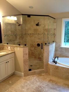 Bathroom with Corner Tub New Frameless Corner Glass Shower Dual Shower Heads Garden Tub Bathroom Renos, Bathroom Renovations, Home Remodeling, Bathroom Ideas, Bathroom Remodelling, Bathroom Organization, Shower Ideas, Budget Bathroom, Bathroom Storage