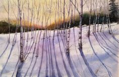Taking The Long View ORIGINAL watercolor Birches in winter by Diane Splinter on Etsy