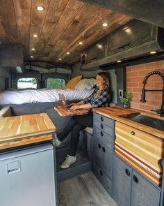 """in """"Fred the Van"""" - This removable table makes the perfect option to work from the road! When not in use, the table goe -Office in """"Fred the Van"""" - This removable table makes the perfect option to work from the road! When not in use, the table goe - Van Conversion Interior, Camper Van Conversion Diy, Van Interior, Sprinter Van Conversion, Motorhome Interior, Van Conversion Office, Cargo Trailer Conversion, Cargo Trailer Camper, Trailer Interior"""