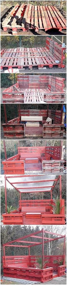 This wood pallet garden terrace with furniture creation idea would make you fall Cabana, Pallet Projects, Pallet Ideas, Diy Pallet, Wood Pallet Recycling, Pallet Wall Shelves, Pallet Seating, Pallet Creations, Pallets Garden