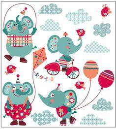 Vinilo happy elefantes