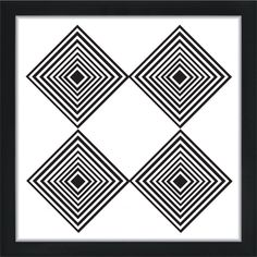 Four Diamonds Illusion Poster - You are getting sleepy….What do you see when you stare at these diamonds? Add some illusion to your space with this black and white line art diamond design. Hang it up alone or with a gallery of other prints for a stunning focal point in any room. The beauty of black and white art posters is that they compliment pretty much any color scheme, interior decor or other art pieces.