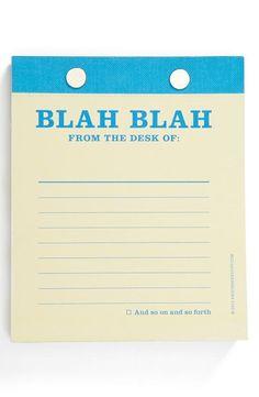 'Blah Blah' note pad