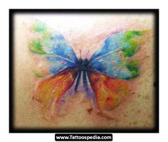 No Black outline watercolor butterfly tattoo.  love the style of this