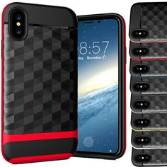 1 x Shock Proof Dual Layer Silicone & Hard Defender PC Case For iPhone XS. This unique and elegant quality TPU and PC hard back stand case designed to protect and perfectly fit your precious phone. This is truly the perfect case, for your valuable phone. Pc Cases, Iphone Cases, Apple Iphone, Layers, Lunch Box, Luxury, Cover, Armour, 3d
