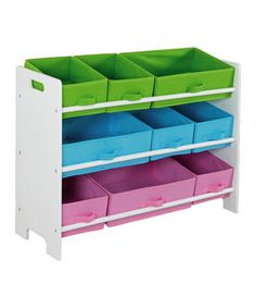Home Basics MDF Kids Storage Shelf with 9 Canvas Bins, White/Multi-Color at Lowe's. From taming the toy clutter in the playroom to providing a fun way to teach your little ones the importance of picking up after themselves, this kids Kids Storage Shelves, Kids Clothes Storage, Shelf Bins, Toy Storage Boxes, Cubbies, Storage Spaces, Bin Storage, Storage Ideas, Children Storage