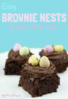 EASY CHOCOLATE BROWNIE NESTS - a fun Easter treat for kids.