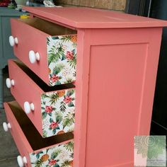 Vintage Drawers Upcycled in Dixie Belle's Flamingo with Modge Podged vintage… Furniture Projects, Furniture Makeover, Cool Furniture, Painted Furniture, Vintage Drawers, Chalk Paint Colors, Paint Types, Dixie Belle Paint, Reclaimed Wood Furniture