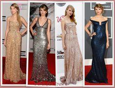Vestido palabra de honor dorado de Reem Acra; Vestido gris de Kaufman Franco; Vestido palabra de honor rosa de Elie Saab; Vestido azul noche de Dolce & Gabbana.