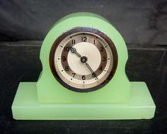 Vintage Glass Jadeite jadite with Chrome Wind Up Clock Foreign Mid Century