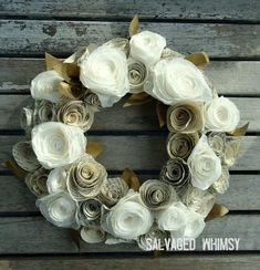 Book Page and Coffee Filter Rolled Paper Flower Wreath Rolled Paper Flowers, Paper Flower Wreaths, Felt Flowers, Flower Crafts, Diy Flowers, Paper Leaves, Coffee Filter Projects, Coffee Filter Crafts, Coffee Filters
