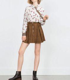 New Womens Fashion Animal Bird Print Bow Tie Button Down Shirt Blouse Tops S M L   eBay