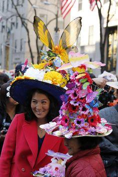 Eye-catching headwear along New York's Fifth Avenue.