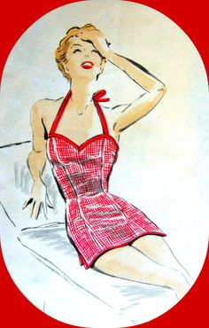 RARE * 1950s Vintage Vogue Pattern 7677 - Misses' One Piece Princess Halter Tie Bathing Suit - Size 16..Bust 34