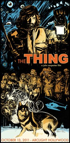 "Artist Tommy Lee Edwards' style here suits this movie's subject matter perfectly. John Carpenter's ""The Thing"" was being screened at the Arclight in Hollywood October 2011 and this poster was for the event. The colors, the use of line, light and shadow. PERRRFECT!"