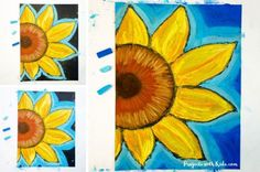 These chalk pastel sunflowers are so colorful and beautiful! Kids will learn easy chalk pastel techniques to create this fun sunflower art project! Sunflower Crafts, Sunflower Art, Chalk Pastel Art, Chalk Pastels, Art Drawings For Kids, Art For Kids, Famous Artists Paintings, Kandinsky Art, Jr Art