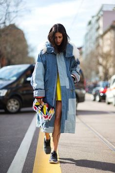 DENIM DELUXE // denim streetstyle // #fashion #style #denim #look #yellow #dress