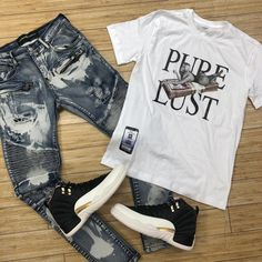 Image may contain: shoes - Clothes - Dope Outfits For Guys, Swag Outfits Men, Outfits For Teens, Teen Guy Fashion, Mens Fashion, Street Fashion, Tribal Shirt, Jeans Outlet, Jordan Outfits