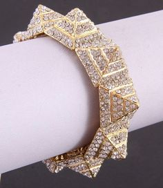 Yellow or White/Silver Gold Plate Metal STUD CUFF BRACELET. $45.00, via Etsy.