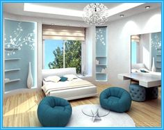 Bedroom Ideas For Teenage Girls Blue cool bedroom themes - zainabie | home decor | pinterest | blue