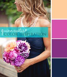 Color Palette: Navy, Fuchsia + Peach