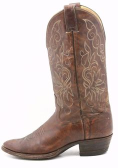 Justin Mens Cowboy Boots Size 7.5 D Brown Marbled Leather Beautiful Western USA #JustinBoots #CowboyWestern