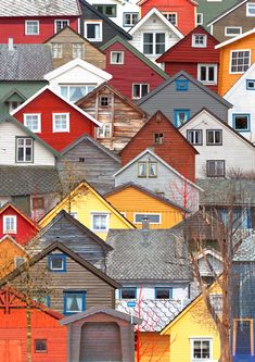 Colorful houses rooftops landscape in Voss, Norway; Upcycle, Recycle, Salvage, diy, thrift, flea, repurpose!  For vintage ideas and goods shop at Estate ReSale & ReDesign, Bonita Springs, FL