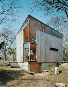 Exterior, House Building Type, Cabin Building Type, Wood Siding Material, and Glass Siding Material Suzanne and Brooks Kelley at the back of their guest cottage. Photo 1 of 5133 in Best Exterior Photos from Striking Angular Cottage in Connecticut Architecture Durable, Architecture Résidentielle, Japanese Architecture, Installation Architecture, Sustainable Architecture, Contemporary Architecture, Minimalist Architecture, Rustic Contemporary, Modern Rustic