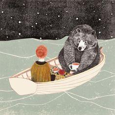 bear and girl on the boat drinking tea  #bear #girl #illustration