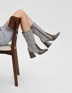 Olive checked calf boots featuring a square toe and a thick block heel. Block Heel Boots, Block Heels, Calf Boots, Shoe Boots, Cheap Boots, Women Slides, Charles Keith, Fast Fashion, Shoe Shop