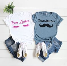 Maternity Shirt, Couples Shirts, New Dad Shirt, Pregnancy Reveal Shirts, Gender Reveal Shirt, His and Hers Shirts, Team Lashes Team Staches
