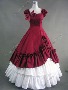 Southern Belle Civil War Ball Gown Dress Reenactment Costume Victorian 208 L