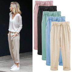Linen Pants Outfit, Casual Pants, Casual Outfits, Summer Pants Outfits, Fashion Pants, Fashion Outfits, Harajuku, Cute Pants, Pants For Women