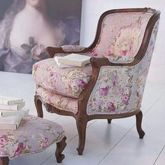 Contentment for Camille is always sitting in a pink floral chair for hours Eclectic Furniture, Upholstered Furniture, Shabby Chic Furniture, Painted Furniture, Home Furniture, Floral Furniture, Furniture Dolly, French Furniture, Plywood Furniture