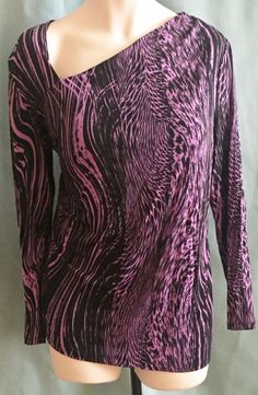 Womens Plus 2x Knit Top Cute Neckline Purple Black #JaclynSmith #KnitTop #Casual