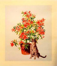 Mimi Conkling Kollmar Curiosity 1978 Original Lithograph https://www.etsy.com/listing/581174815/mimi-conkling-kollmar-curiosity-1978?utm_campaign=crowdfire&utm_content=crowdfire&utm_medium=social&utm_source=pinterest #lithography #mimiconkling #art #conklingkollmar #conklingartwork #printmaking #Curiosity #driftteamriskybusiness #cat #conklingardens #lithograph #catloversart  #artwithcats #mimiconklingkollmar