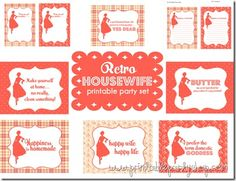 Retro Housewife Printable Party Set www.printablepartyshop.com  Over 50 printable pages for bridal shower, bake sale, retro theme party