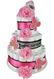 Beautiful Butterfly girl's diaper cake, front view
